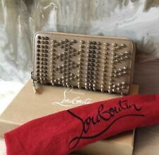 Christian Louboutin Panettone Multi Spike Nude Leather Wallet RARE