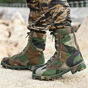 Mens Camouflage Desert Boots Tactical Lace Up Combat Hiking Army Military Shoes