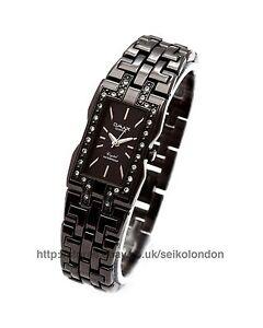 Omax Ladies Diamonte Black Dial, Black Finish, Seiko (Japan) Movt. RRP £49.99
