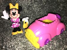 MINNIE MOUSE Disney DOLL & PINK CONVERTIBLE CAR Snap On Toy BIRTHDAY CAKE TOPPER
