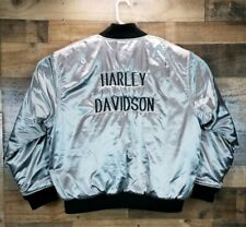 Harley Davidson Wear Guard Large Bomber Jacket Silver Spelled Out Windproof EUC
