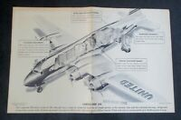 Collectible 50s United Air Line Flight map U.S. & Schematic Cargo Plane- gd cond