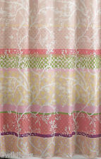 HOME CLASSICS Fabric Shower Curtain Forest Hills Beige Coral Green