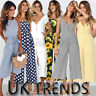UK Womens Summer Striped Floral Dot Wide Leg Holiday Jumpsuits Playsuits Culotte