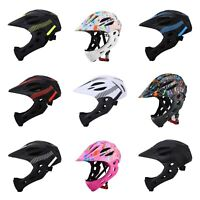 Kids Cycling Bike Helmet Full Face Protection Back LED Bicycle For Children MTB