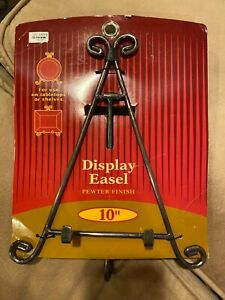 "10"" METAL EASEL FRAME DISPLAY STAND - PEWTER FINISH NEW"
