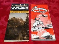 RARE! Vintage 1940's WYOMING & CHEYENNE Tourist Travel Vacation Guides Lot of 2