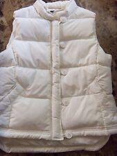 ladies LARGE J. CREW WHITE IVORY WINTER SKI VEST coat MODERN thick JACKET clean