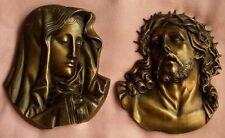 2 décorations murales religieuses en métal jaune