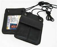 Black Leather ID Card Holder Neck Travel Pouch Wallet Neck Strap USA Seller