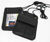 BLACK Genuine Leather ID Card Badge Holder Neck Strap Pouch Passport Card Wallet