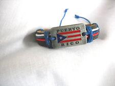BLACK LEATHER PUERTO RICO METAL FLAG w TEXT & RED WHITE & BLUE CORD ADJ BRACELET
