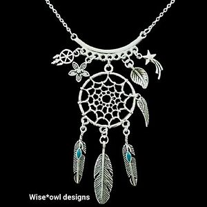 NATIVE AMERICAN DREAM CATCHER NECKLACE. STERLING SILVER CHAIN OPTION. GIFT BOXED