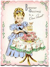 VINTAGE BIRTHDAY CARD 1945 - CAKE WITH REAL METAL KNIFE- DEAR AUNT - USED