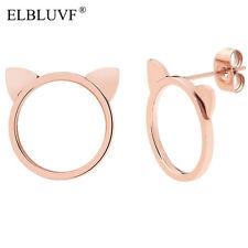 ELBLUVF Stainless Steel 18K Rose Gold Plated Animal Cat Ears Kitty Cat Earrings