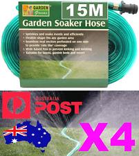*SOAKER HOSE* 15m x 4 PACK Flat Flexible Garden Lawn Sprinkler Water Drip Tube