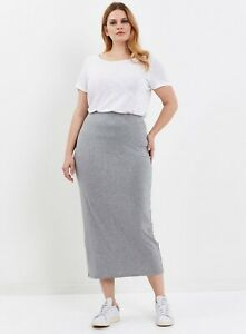 Evans Womens Plus Size Grey Maxi Pencil Skirt Plain Casual Everyday