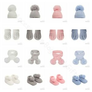 Baby Pom Pom Hat Scarf Mittens Booties Boy Girl Soft Cable Knit Elegance NB-24Ms