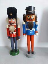 2 x Nußknacker ⭐ Soldat ⭐ Holz lackiert  blau / orange + rot / grau ⭐