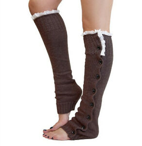 Women Leg Warmer Gifts Knitted Socks Button Crochet Leggings Lace Boot Toppers