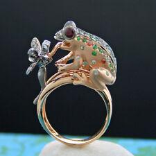 Demantoid Saphir Rubin Brillant Ring TIERKUNST Frosch m. Libelle  750er ROSEGOLD