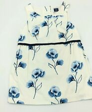 Janie And Jack Dress Floral Shift w/Bow Neck Sleeveless White Blue 12-18M