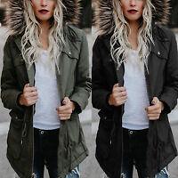 Women Winter Fur Hooded Trench Coat Long Peacoat Trench Outwear Jacket Overcoat
