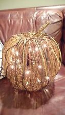 NEW Pottery Barn Woven Rattan Decorative Pumpkin with LED Lights Halloween $79