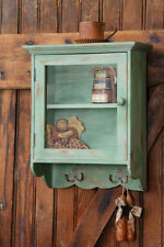 Shabby French Country Chic COTTAGE GREEN Cabinet Cupboard Key Hooks Wall Shelf