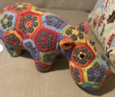 Hand crochet hippo african hippo flower hippo soft toy