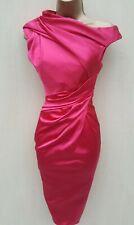 de862931de50 Size 12 Karen Millen Pink Satin Pleat Pencil Dress Occasion Party Races  Cruise