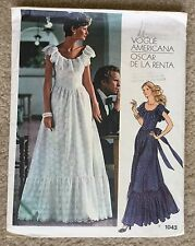Vintage 80's Vogue Americana Oscar De La Renta Bridal Dress Sewing Pattern #1043