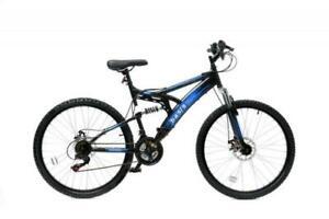 """Basis 1 Full Dual Suspension 18 Speed 26"""" Mountain Bike - Black/Blue"""
