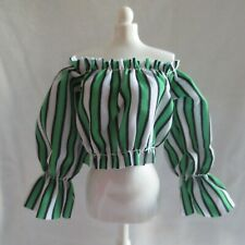 NEW! 2019 Barbie Italian Vacation Gelato Cafe Doll Green Stripe Top ~ Clothing