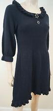 Tania Noir 100% cachemire Plissé Col 3/4 Manche Courte Mini Robe Pull Sz: M