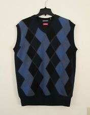 Sunice WINDSTOPPER Size L Blue Wool Argyle V-neck Pull Over Golf Sweater Vest