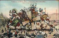 Nice France Carnaval 1909 Elaborate Parade Float Artist Drawn Postcard #4