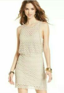 Free People Crochet Dress Tan Lace Short Keyhole Back. NWT! Original Price $128