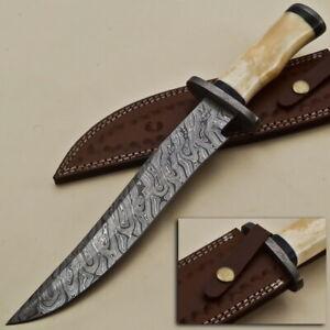 Custom Rain Drop Damascus Steel Clip Point Hunting Knife EE52