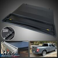 For 2015-2018 Ford F150 8FT Long Bed Soft Lock Four-Fold Tonneau Cover Black