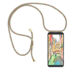 For LG K40 Case With Chain Band Rope Cover Soft Case To Sling On Colourful
