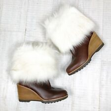Sorel Park City Short Wedge Booties Size 6 New Woman Fur Leather Boot Shoes