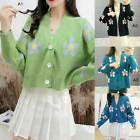 Women Flower Knit Sweater Long Sleeve V Neck Girls Loose Thicked Pullover Preppy