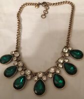 J Crew Emerald Green Tear Drop With Stones Clear Necklace