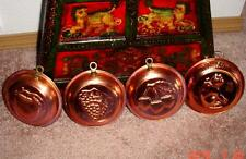 """VTG lots of 4 COPPER Pans Perfect Wall Hanger Display 6""""Across Made Korea Nice"""
