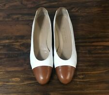 BRUNO MAGLI Women's Leather Flats, White & Tan, Size 9 1/2 AA (39.5) Great!