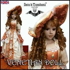 antique doll porcelain bisque head rare vintage epoque venetian silk dress ooak