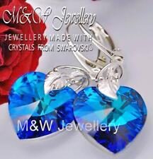 925 Sterling Silver Earrings Crystals From Swarovski® 18mm Heart Bermuda BLUE AB