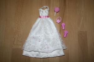 Barbie Ballkleid Hochzeitskleid weiß rosa Glitzer + Schuhe + Handtasche + Blumen