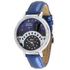 Valentines Couple Theme Fashion Watch | Crystal Rhinestones Blue Woman Analog